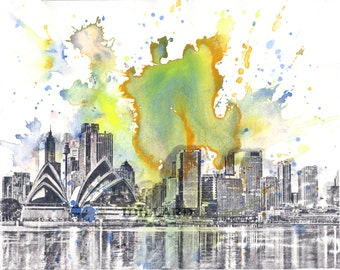 Sydney Australia Cityscape Skyline Landscape Art Print From Original Watercolor Painting 8 x 10 in Art Print