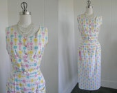 1950's Vintage Floral White Cotton Wiggle Dress with Multi Colored Flower Design