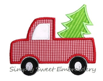 Christmas Truck with Tree Machine Embroidery Applique Design