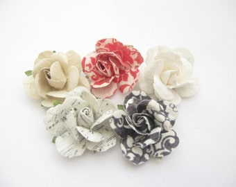 NEW- LIMITED EDITION-Handcrafted Paper Flower Lapel Pin / Boutonniere - you choose 1