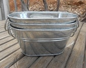 """3 Rustic Oval Galvanized Tubs, Buckets, 9"""" x 7"""" x 5"""",  Great For Barn Weddings, Planting Succulents, Containers"""
