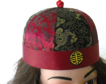 vintage asian style round bowl hat with yarn long braid - costume piece/collectable