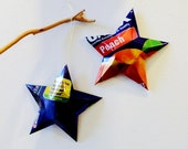 Jumex Peach Nectar Can Stars Ornaments Upcycled Repurposed Recycled