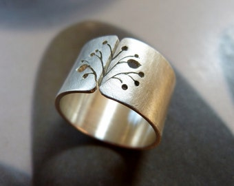 Flower silver ring, rustic Sterling silver ring, wide band ring, handmade gift, gift for woman, gift for wife, birthday present, Christmas