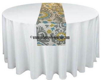 Gray Blue Table Runner Floral Wedding Runner Table Centerpiece Decor Linens Birthday Anniversary Party