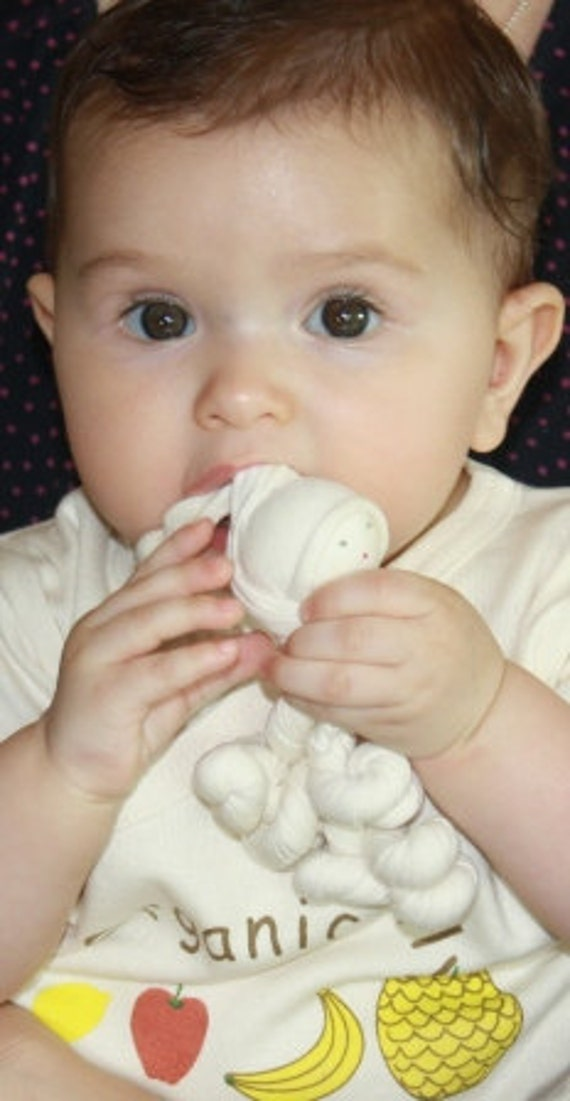 Organic baby cotton teething and clutch toy made in the Waldorf tradition