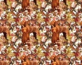 Vizsla and Autumn Leaves fall fabric