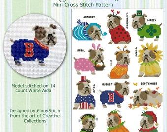 Bulldog Year Round Collection Cross Stitch PDF Chart
