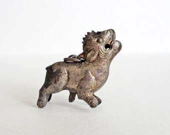 Mid-1900s Chinese silver lion amulet or charm
