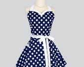 Sweetheart Retro Apron - Retro Sexy Womens Apron Navy Blue and White Nautical Polka Dot Cute Full Kitchen Apron