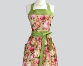 Womens Bib Full Apron - Handmade English Garden Pink and Green Floral Cute Kitchen Apron