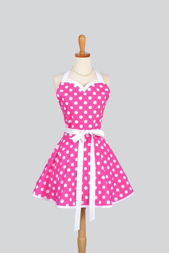 Sweetheart retro apron vintage womens apron hot pink and for Apron designs and kitchen apron styles