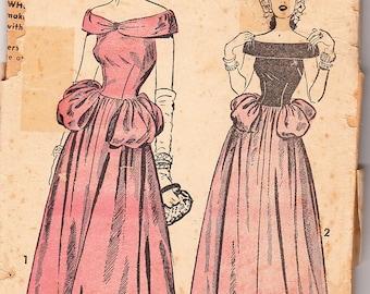 Vintage 1947 Advance 4684 Sewing Pattern Misses' Evening Dress Size 12 Bust 30