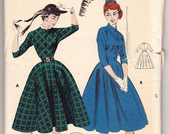 Vintage 1955 Butterick 7127 Sewing Pattern Junior's One-Piece Dress Size 13 Bust 31