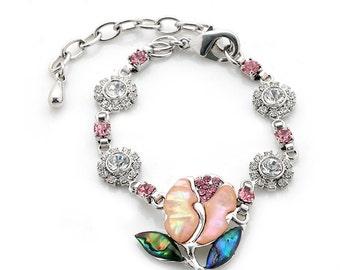 Mother of Pearl Pink Tulip Flower Design Cubic Zirconia Rhinestone Colorful Dark Green Blue Shell Link Bracelet