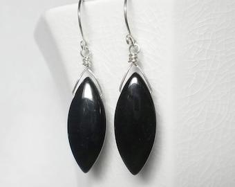 Black Drop Earring Black Onyx Earring Black Earrings Black Briolette Earrings Sterling Silver
