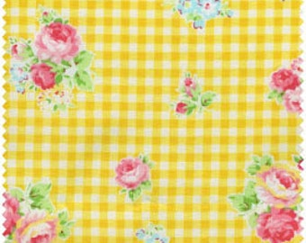 Flower Sugar 2013 by Lecien Yellow  Gingham Rose 30748-50 Cotton Fabric