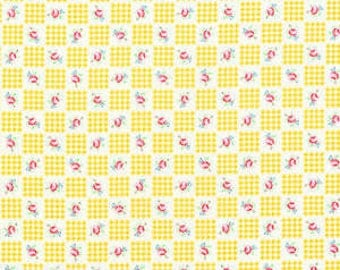 Flower Sugar Fall 2013 Yellow Gingham and Roses Cotton Fabric  by Lecien 30844-50
