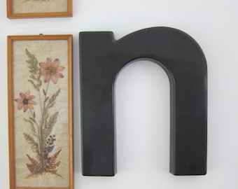 Vintage Salvaged Sign Black Plastic Letter Lower Case n or u
