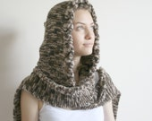 Brown Wilds Safari Wool Hooded Cabled Long Scarf Cowl Under USD100 Gift For Her