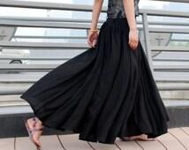 Black Long Maxi Skirt - Woman maxi linen skirt with High Waist and side zipper - Full skirt -  Pleated Skirt with Pockets - Handmade (MM67)