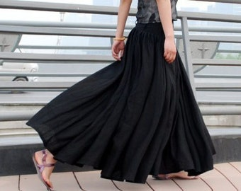 Maxi Skirt ,Black skirt, Long skirt,linen skirt, womens skirts, linen skirt, high waisted skirt, Full skirt,Pleated Skirt with Pockets MM67