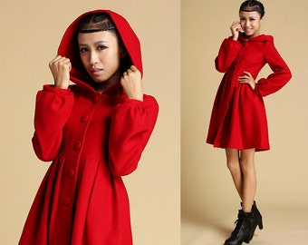 Red Wool Coat, Short jacket, dress coat, Winter coat, winter jacket, hooded jacket, Cashmere coat, fit and flare coat, womens outfits (333)