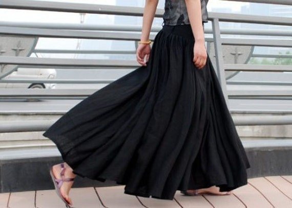 Maxi Skirt Black skirt Long skirtlinen skirt womens