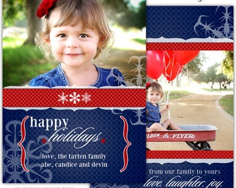 Instant Download - Photoshop PSD layered Templates for Photographers - Holiday card - Tarten family design