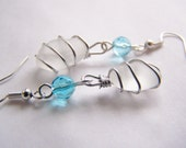 Natural Sea Glass Earrings with blue czech glass crystals - OOAK one of a kind - affordable gifts - bridesmaids - weddings