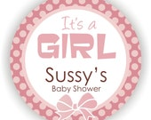 It's a Girl Stickers - 40 Thank You 2 inch circle Stickers - Birthday - Baby Shower - Envelope Seal - Address Label - Personalized