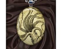 Giant Squid Art Pendant - The Kraken - Octopus - Oval - Vintage Illustration - Silver Pendant Necklace