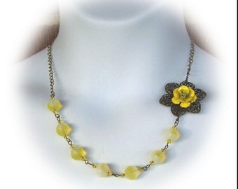 Yellow Rose Necklace - Yellow Enamel - Bridesmaids Necklace