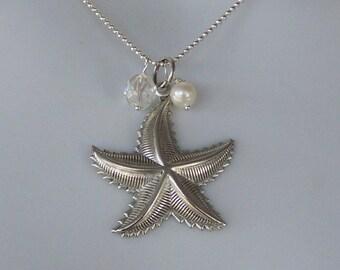 Victorian Starfish Necklace Silver - Sea Star Pendant - Beach Wedding - Bridesmaid Necklace