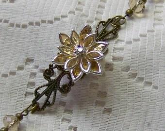 Flower Bracelet - Crystal Flower Filigree - Smokey Topaz