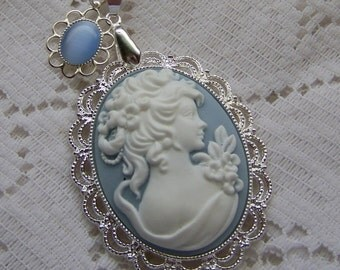 Jane Austen Pendant - SENSE and SENSIBILITY - Portrait Cameo Necklace - Southern Belle - Blue and White - Blue Lady - EMMA - Wedgewood Blue