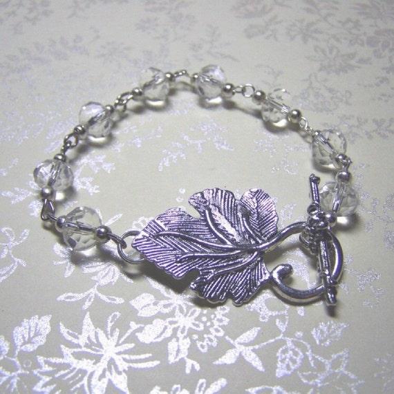 Wedding Leaf Bracelet - Woodland Wedding - Bride - Bridesmaids gift - Symbol of Happiness - Grapes vineyard Leaf Silver Bracelet