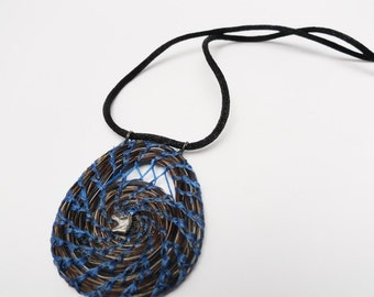 Horse Hair Necklace, Equestrian Horsehair Jewelry, Coiled blue Medallion HH20