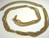 """Silver and Gold 33"""" Metal Chain, Jewelry Supplies, Handbag Supplies, Crafting, Sewing Supplies"""