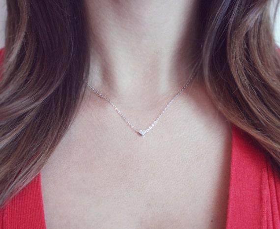 Mini Silver Heart Necklace Sterling Silver