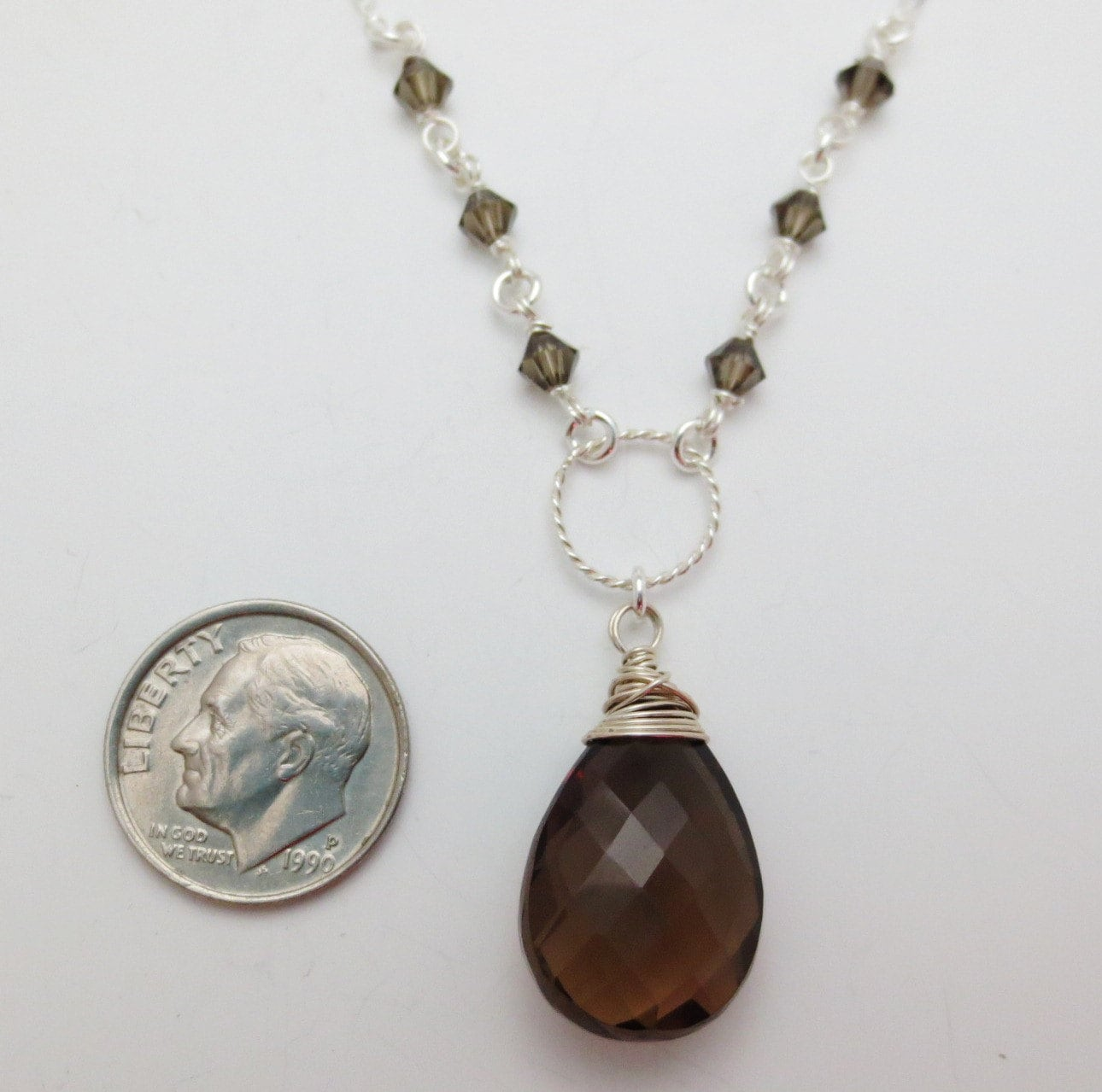 smoky quartz sterling silver gemstone necklace ee designs