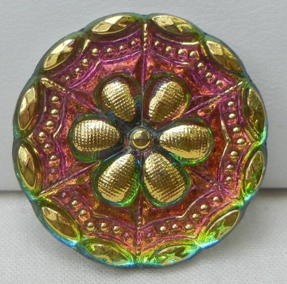 Webbed Flower Czech Glass Button