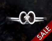 Diamond Ring, Simple Solid Sterling Silver Ladies Ring with Genuine White Diamond  -Size 6