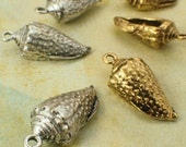 2 Antique Silver or Gold Plated Conch Shell Charms - 25mm X 10mm - Made in the USA - Handmade Jump Rings Included - 100% Guarantee