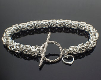Grand Sterling Silver Bracelet Ready Made or Kit - Beyond Basic Byzantine - Stunning Chainmaille