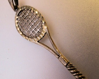 Tennis Racket Racquet Pendant Sterling Silver Vintage FREE SHIPPING