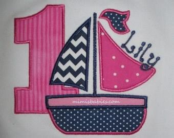 Sailboat Birthday Shirt  Pink and Navy Girls Birthday Shirt