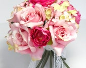 ON SALE - Bridesmaid Bouquet in pale pink roses, hydrangeas and Ranunculas tied with a white lace ribbon. Eight available.