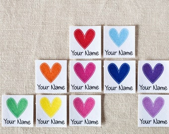 75 Iron On Personalized Clothing Labels for Kids with Hearts (custom name tags)
