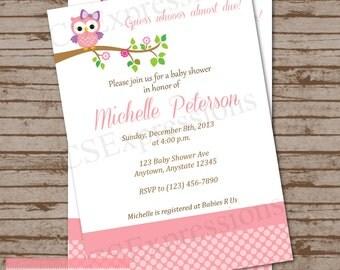 Pink Polka Dot Owl Baby Shower Invitation